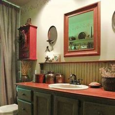 Oo! I REALLY like this Pretty Bathroom- *by: Karen Gerhart on fb. See the reflection in the mirror of something hanging on the wall? The next photo reveals all of it ~ Ljb:)