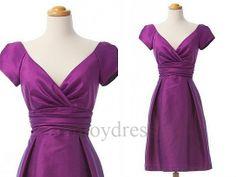 Custom Taffeta V Cut Cap Sleeves Short Prom Dresses by enjoydress, $79.00
