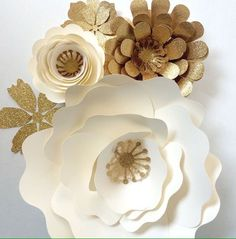 Paper Flower Wall Decor, Large Paper Flower Backdrop, Paper Flowers In  Cream And Gold Part 71