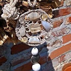 Collana con ciondolo di cotone grigio perla ,lavorata a mano con il crochet ., by Ideacreazioni, 28,00 € su misshobby.com