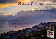 """Mixed Feelings (acoustic duo) Live at Antico Since1965 Wine Bar - E' con vero piacere che annunciamo una nuova data del nostro progetto Mixed Feelings. Questa volta il nostro piccolo """"salotto"""" ricco di emozioni, canzoni e """"parole"""", si sposterà in quel di Lungro, all'Antico since 1965 – caffetteria & wine bar. Vi... - http://www.eventiincalabria.it/eventi/mixed-feelings-acoustic-duo-live-at-antico-since1965-wine-bar/"""
