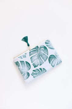 Tropical zipper pouch  clutch  palm leaf on door confettiriotshop