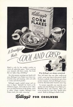 1935 Kellogg's Corn Flakes Ad by CollectiblesbyGramps on Etsy, $5.00 Vintage Advertisements, Vintage Ads, Vintage Posters, Vintage Items, School Advertising, Advertising History, American Metalcraft, Corn Flakes, Childhood Memories