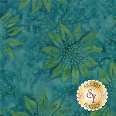 Botanica FB003-104 Teal by Fresh Batiks for Clothworks Fabric: Botanica is a batik collection by Fresh Batiks for Clothworks Fabrics. This batik fabric features green sunflowers on a mottled teal background.