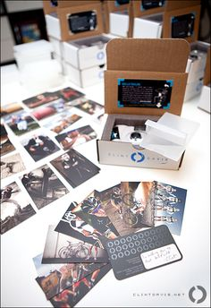 The most amazing little press-kit box I have seen! A photographer sends out all of his important info, samples, and a disposable camera in a branded box