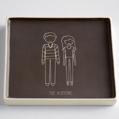 High Quality Unique Personalized Gifts at Red Envelope via http://www.AmericasMall.com/redenvelope-gifts ceramic catchall square family members from RedEnvelope.com #redenvelope #gifts #personalizedgifts