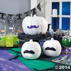 DIY Mustache Pumpkins great for an October baby shower using a mustache theme.