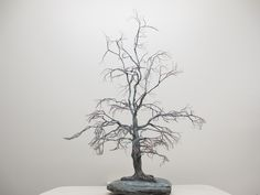 Copper wire tree - Bonsai style - Natural rock - recycled material - Wabi sabi - Maple tree