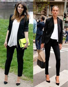 calça preta + blazer preto= use com blusa soltinha
