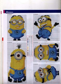 Despicable Me Minions Cross Stitch (Anchor and DMC colours) Page B Cross Stitch For Kids, Cross Stitch Baby, Cross Stitch Charts, Cross Stitch Designs, Cross Stitch Patterns, Cross Stitching, Cross Stitch Embroidery, Embroidery Patterns, Crochet Patterns