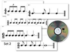 """RHYTHMIC FLASHCARDS SET 2 - Expand rhythm reading skills with a little blues, jazz, rock, calypso, reggae, or samba! Clap, sing rhythm syllables, or play the rhythms on these large flashcards in a groovy ensemble with the accompaniment CDs. A variety of duple and triple meters, tempos, and styles adds musicality and fun to the rhythm reading experience. Sets can be combined to expand the rhythmic repertoire.  Set of 60 cards with CD. 12.5"""" x 6.5""""."""