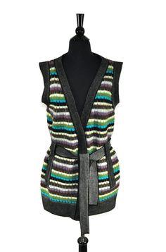 M Missoni Striped Wool Mohair Knit Sleeveless Vest Cardigan Size 10