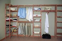 Our Basic Ventilated Aromatic Red Cedar Closet Systems come with ventilated shelf assembly(that allows for light and air flow) and solid cedar side pole assembly made entirely from Aromatic Red Ce (Diy Closet System) Diy Closet, Closet Remodel, Home, Coat Closet Organization, Closet Planning, Closet Organizing Systems, Closet Designs