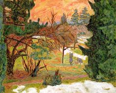 The Washing Line in the Park at le Grand-Lemps, c.1917 (oil on paper), Pierre Bonnard