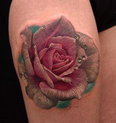 Hyperrealism Rose Tattoo by Phil Garcia