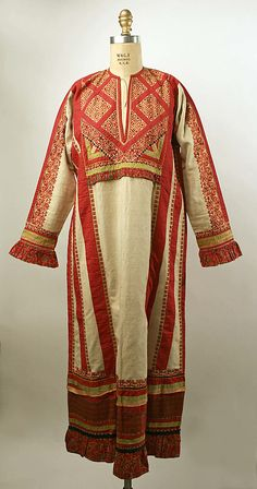 Dress, Russian  19th Century  Linen, cotton  Metropolitan Museum of Art