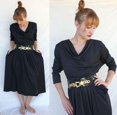 1980s BATWING DRESS glam goth retro dance by s0methingborrowed, $46.00