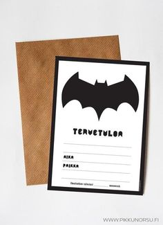 NA NA NA NA NA NA NA NA NA NA NA NA NA NA NA NA BATMAN!!!  Nyt juhlitaan pikku-Batmania. Kortissa on otsikkona TERVETULOA sekä tilaa kutsutekstille ja tärkeille tiedoille.