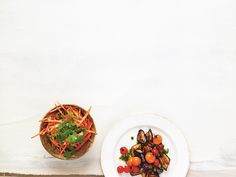Tender carrot salad with miso and tahini