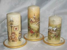 The best DIY projects & DIY ideas and tutorials: sewing, paper craft, DIY. Candle Art, Candle Lanterns, Candle Making At Home, Gel Candles, Christmas Decoupage, Decoupage Glass, Homemade Candles, Christmas Candles, Handmade Decorations
