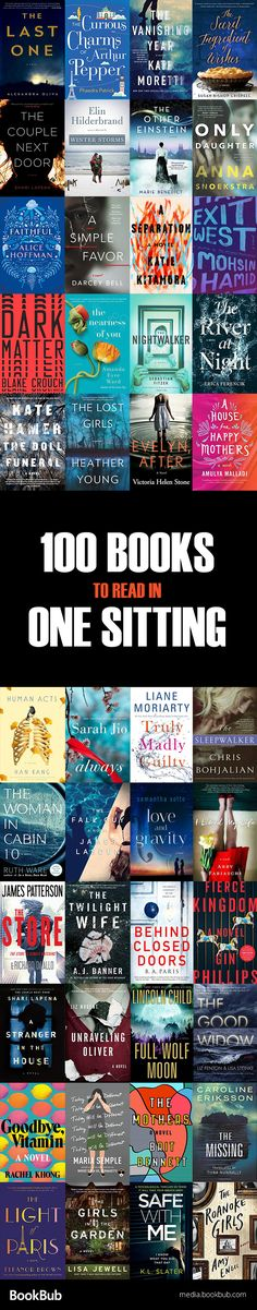 A great list of fast-paced books to read in one sitting, including a mix of thrillers, historical fiction, bestsellers, and other books to read for adults.