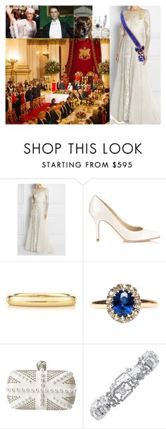 """Attending the Queen's annual Diplomatic Reception at Buckingham Palace"" by lady-maud ❤ liked on Polyvore featuring Badgley Mischka, Temperley London, Jimmy Choo, Elsa Peretti and Alexander McQueen"