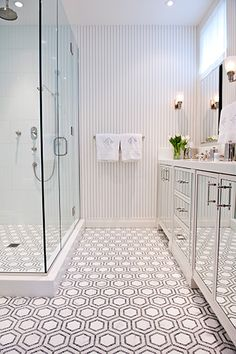 Geometric bathroom floor tile