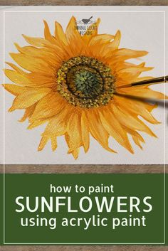 How to Paint Sunflowers using Acrylic Paints with Bonnie Lecat Acrylic Painting Tutorials, Using Acrylic Paint, Acrylic Painting Canvas, Diy Painting, Painting Portraits, Acrylic Painting Flowers, Beginner Painting, Abstract Paintings, Canvas Art