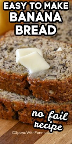 This easy Banana Bread recipe is a no-fail favorite that comes out perfect every time! With a handful of ingredients that you likely have on hand and only a few minutes of prep youre going to start buying extra bananas just for this recipe! Köstliche Desserts, Delicious Desserts, Dessert Recipes, Easy Bread Recipes, Banana Bread Recipes, Frozen Banana Bread Recipe, Moist Banana Bread Recipe Sour Cream, Overripe Banana Recipes, Recipes With Bananas
