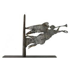 Rare Gabriel Weathervane - United States Late century Graceful and striking zinc Gabriel form, either a weathervane or finial. Angel Theme, Lightning Rod, Artist And Craftsman, Weather Vanes, Art Watch, Naive Art, Outsider Art, Early American, Art Reference
