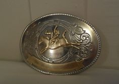 """Western Silver and Brass Buckle 3 3/4"""", Award Buckle for Bronc Riding, Metal Buckle Ready to Engrave, Vintage Worn Western Buckle by ShellyisVintage on Etsy #gotvintage #tempt"""