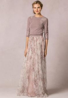 """""""Arabella"""" Watercolor Garden Skirt + """"Paisley"""" Sweater So pretty for a semi formal outfit Mode Outfits, Skirt Outfits, Dress Skirt, Dress Up, Modest Dresses, Bridesmaid Dresses, Long Dresses, Maxi Robes, Mode Inspiration"""