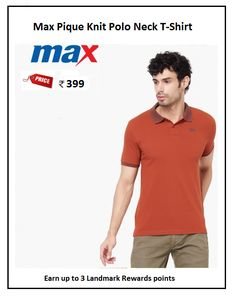 #Max #Pique #Knit #Polo #Neck #T-Shirt #Design : Solid #Price: ₹399.00 #Fit : Regular #Style : Casual #Fabric : Cotton Blend Polo Tees, Style Casual, Neck T Shirt, Orange, Knitting, Fitness, Mens Tops, Cotton, Shirts