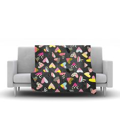 "Louise Machado ""Pieces of Heart"" Pink Yellow Fleece Throw Blanket"