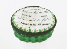 Oval patch box with a mirror inside the lid, commemorating Vice-Admiral Horatio Nelson (1758-1805).