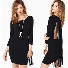 3f55ed3d8cc47 Click to Buy    Celebrity Black Long Sleeve Bodycon Backless Tassel Bandage  Dress