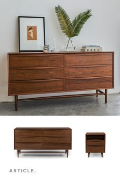 The Lenia dresser borrows from Shaker design tenets: unadorned walnut, spindle legs, lots of great storage. Behold: a dresser that is sleek, minimal, and spacious. Bonus alert: solid wood curved handles finish the piece off beautifully. Mid Century Modern Dresser, Mid Century Modern Living Room, Mid Century Modern Decor, Mid Century Modern Furniture, Danish Modern Furniture, Decor Interior Design, Interior Decorating, Design Lounge, Chair Design