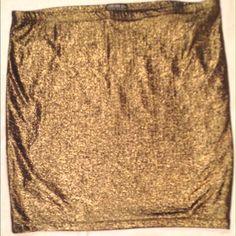Metallic Bodycon skirt Forever 21 Plus Size gold metallic skirt, never worn Forever 21 Skirts Pencil