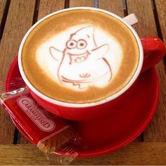 """Discovered by Fen, """"My cute Patrick from Spongebob Squarepants latte art :)"""" at Chock Full Of Beans, Singapore"""