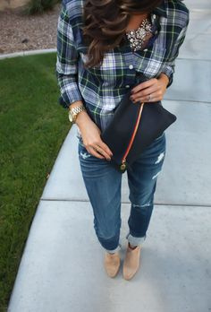 J.Crew Plaid Shirt, I just bought the most recent one in a size 0 and it fits like a GLOVE   Seven Jeans (This pair is a few years old but the Style is Josephina- on sale!)) Similar herefrom Gap…