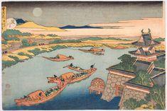 Hokusai - Boats in moonlight
