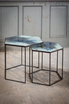 Cobalt mist organic hexagon, side table set - Notre Monde
