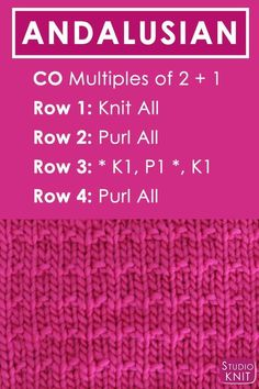 Crochet Stitches Patterns Andalusian Knit Stitch Pattern Free Instructions by Studio Knit with Video Tutorial Knitting Stiches, Crochet Stitches Patterns, Easy Knitting, Knitting Needles, Knitting Patterns Free, Knitting Yarn, Knit Stitches, Knitting Ideas, Knitting Tutorials