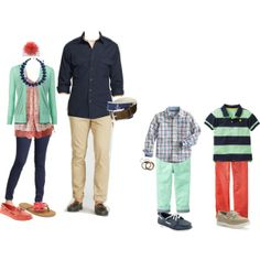 """Coral, navy, mint, ivory"" by karnott08 on Polyvore  My Family outfits?"