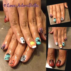 Very Cool Halloween Nails for Ms. @Roxanne Campillo Silva she loves to challenge me! #halloweennails #gelnails #gelpolish #gelmanicure #nailart #nails #halloween #holidays #nailart #loveadorabella