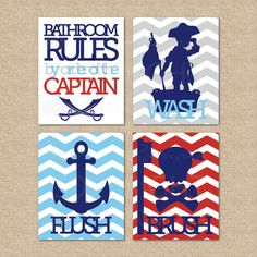 Pirate Bathroom Rules...by order of the Captain...Wash, Brush, Flush // 4 Print Set // N08 // Kids Bathroom Giclée Prints, 8x10 on Etsy, $59.00