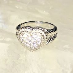 JUDITH RIPKA Sterling Silver Diamonique pave' Signature Heart Ring Size10 #JudithRipka