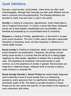 quick definitions of anxiety, shyness, social anxiety and SAD or social phobia
