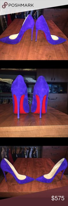 Blue Suede Christian Louboutin So Kate. Heel height is just under 5 inches. Size 39.5 (roughly 8-8.5 US). Worn only once. Perfect condition. Christian Louboutin Shoes Heels