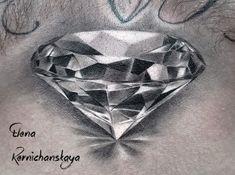 Tattoo Elena Kernichanskaya - tattoo's photo In the style Biomechanical, Diamo Black Diamond Tattoos, Diamond Tattoo Designs, Crown Tattoo Design, Tattoo Design Drawings, Pencil Art Drawings, Sleeve Tattoos For Women, Tattoos For Guys, Diamond Illustration, Cool Symbols
